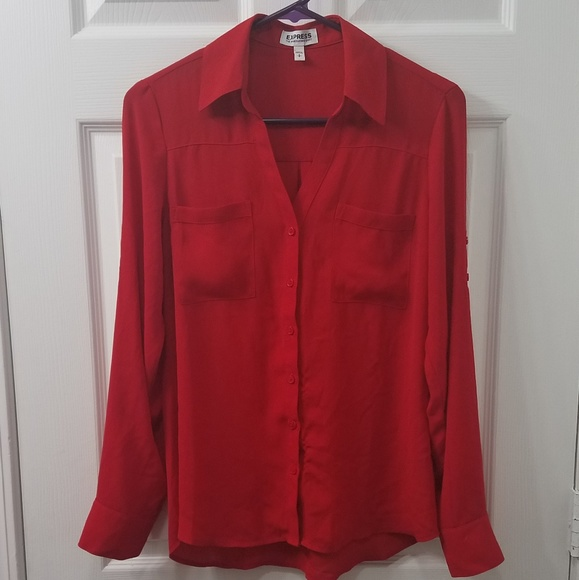 767c7878a Express Tops | Red Button Up Blouse | Poshmark